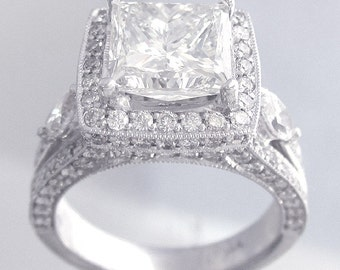 18k white gold princess cut forever brilliant moissanite and diamond engagement ring art deco style 3.00ctw