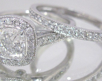 14k white gold cushion cut simulated diamond engagement ring and band 1.90ctw