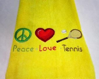 Tennis Towel Machine Embroidered Peace Love Tennis