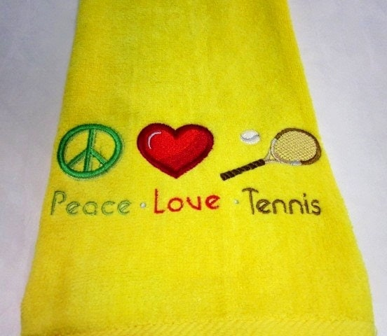 Tennis Towel Machine Embroidered Peace Love Tennis