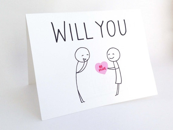 Will You Be Mine Cute Valentines Day Card Romantic Card – Cute Valentines Day Cards for Him