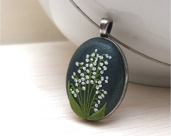Polymer clay jewelry- Lily of the valley Jewelry- Flower Polymer Clay Jewelry- Green, White Pendant