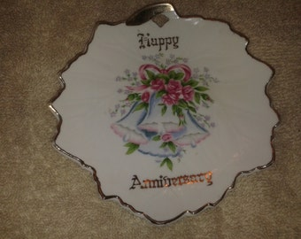 Vintage Norcrest Happy Anniversary Leaf Shaped Plate