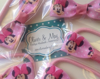 Pink Mouse Birthday Party Favors Hair bow Elastic Hair Ties individually wrapped