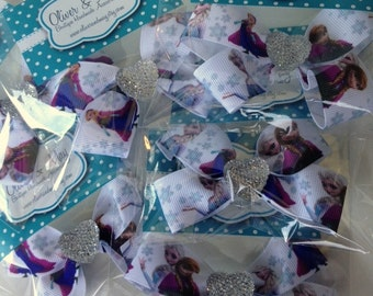 5 Disney Frozen Party Favor HairBow Clips with non slip grip and Heart Bling!