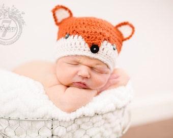 Crocheted fox beanie, fox photo prop, crocheted baby gift, crocheted baby hat, crochet fox, crochet baby gift