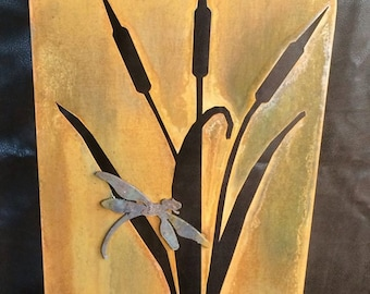 Metal Cattails and Dragonfly Garden - Indoor/Out Door Decor set in Stone or Wood