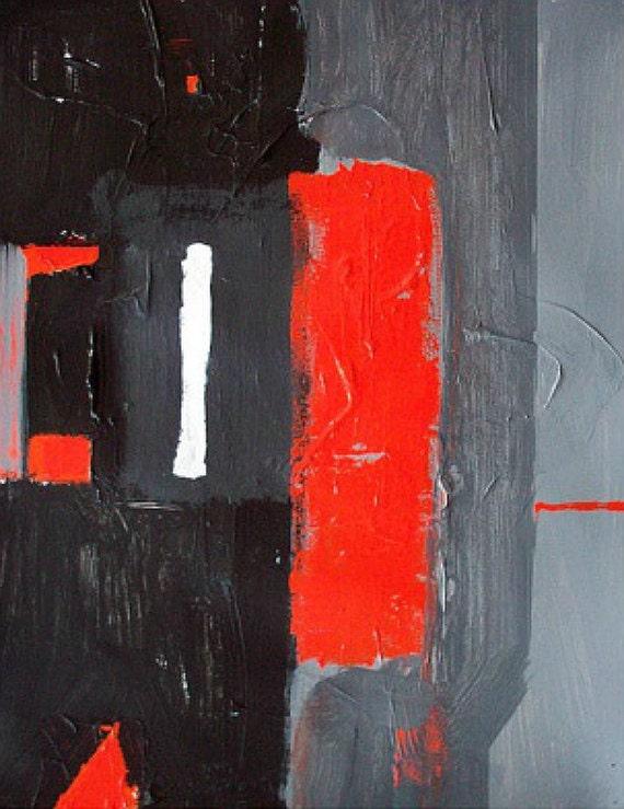 Modern abstract painting grey and orange original minimalist geometric large canvas art 40x30 / Made to order / ELSTON