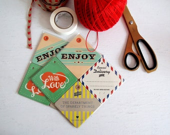 Gift Tags: Tag it up! / Set of 4 / Ltd. Edition (Enjoy – With Love – Special Delivery – Sparkly Things)
