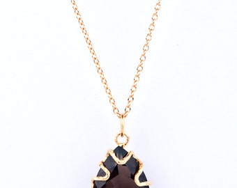18K Gold Plated Sterling Silver Textured Pendant with Semi Precious Stone