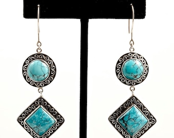 Turquoise 107 - Earrings - Sterling Silver & Turquoise