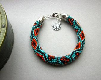 "MADE To ORDER - Bracelet ""Ethno"" - Bead Crochet Bracelet - Bangle - Turquoise/Orange/Chocolate - Beadwork - Ethnic - Aztec"