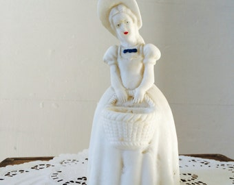 30s Salt Statue Lady holding Basket in Wide Brim Bonnet