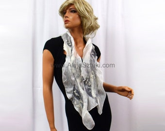 White and gray scarf. Nuno felted. Nuno felting. Silk shawl. Silk Scarves. Silk scarf. Unique scarf. Unique clothes. Headscarf