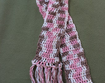Hand crocheted soft and warm scarf in pink, brown and soft white