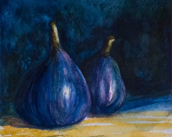 Original watercolor  painting, TWO FIGS, still-life painting,watercolor food art, still-life watercolor