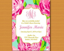 SALE Lilly Pulitzer Inspired Invitation, Monogrammed, Graduation Party, Bridal Shower, Baby Shower, Birthday Party, Sprinkle Party