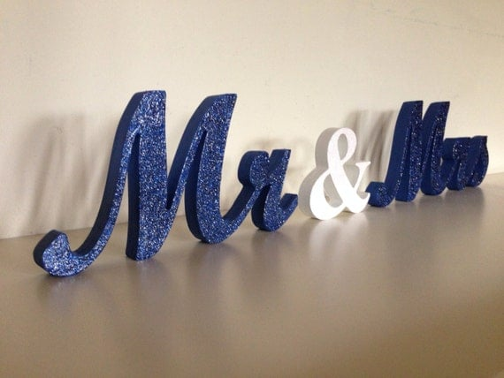 Blue glitter wedding sign mr and mrs wooden letters by sunfla for Sparkly wooden letters