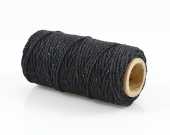 BLACK  BAKERS TWINE - Black Twisted Cotton String / Bakers Twine (20 meter spool)