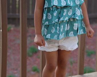 Indian block print top-Teal and white
