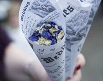 Personalised Newspaper confetti cones pack of 5