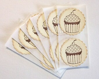Cupcake Stickers, Vintage Inspired, Envelope Seals, Birthday, Tea Party, Food Gift, Stickers, Dessert Labels, Dessert Stickers, Set of 6
