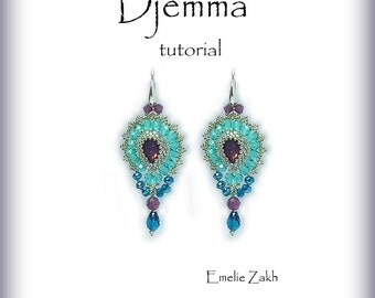 Djemma Beading tutorial.Beaded pattern earrings. ! PDF file containing instructions .