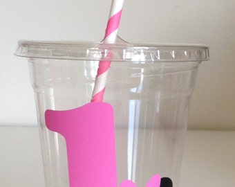12 Pink or Red Minnie Mouse Party Cups with Lid and Straw, Minnie Mouse Birthday Cups, Minnie Mouse, Mickey Mouse Clubhouse