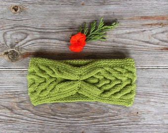Green knitting headband knit winter ear warmer turban knitted Cozy warm hair accessory moss green head wrap Winter headband Christmas gift