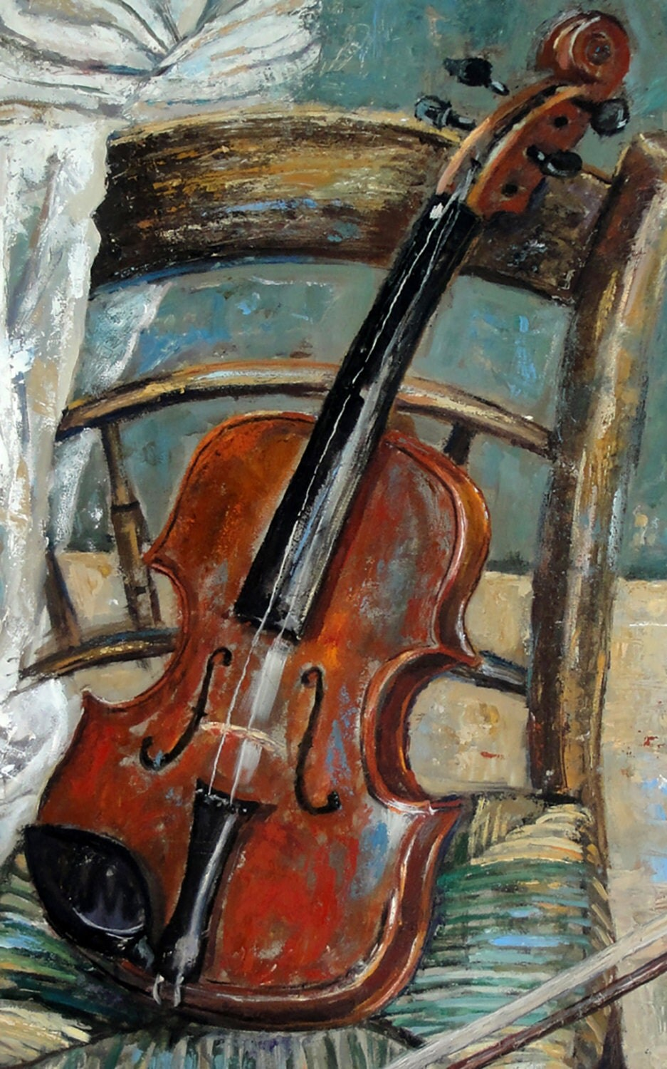 Still Life Oil Painting Original Violin On Chair By
