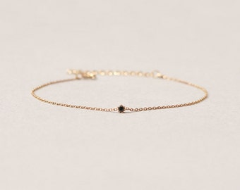 Genuine SWAROVSKI Black Crystal Sterling Silver 925 Thin Chain Gold Vermeil 2mm Faceted Tiny Stone Judy&Paul
