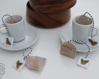 Felt Food Felt Tea Bags Play Food 4 Piece Pretend Food Play Tea Set