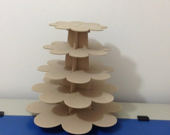 5 Tier cupcake stand, flower shape, made of MDF wood