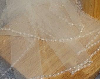 2T wedding veil, pearl bridal veil, hand-string pearl veil, elbow veil, white ivory veil, pearl + comb bridal veil, wedding headpiece+ Comb