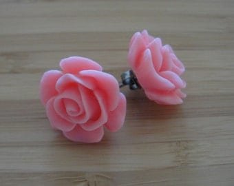 Large Pink Flower Earrings
