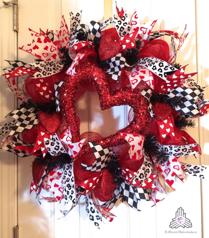 Valentine Day Heart Deco Mesh Wreath