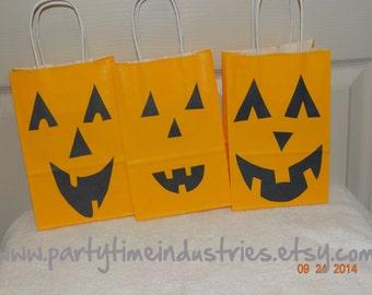 10 Halloween Jack O Lantern Favor/Goodie/Candy Bags