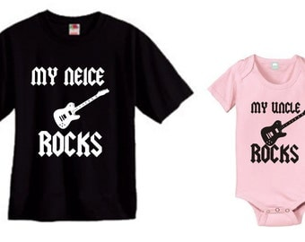 My Neice rocks and my Uncle rocks Mens and baby girl  kids matching shirt and bodysuit set of 2 great gift size choice new
