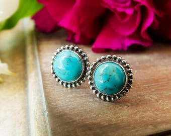 Turquoise Stud Earrings, Sterling Silver Stud Earrings, Gemstone Earrings, Gemstone Stud Earrings, Post Earrings, Everyday Earrings, Beaded