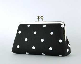 Bridesmaid Gift, Pretty Dotty Clutch, Silk Lining, Bridesmaid Clutch, Wedding clutch