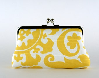 Bridesmaid Clutch, Millwheel in Yellow Clutch, Silk Lining, Bridesmaid Gift, Wedding clutch, Grey and Yellow collection