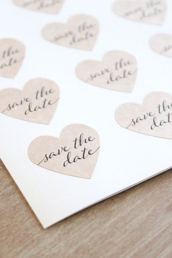 kraft heart save the date stickers engagement party invitation seals