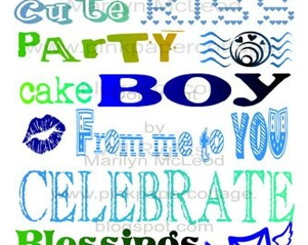 Digital Printable Boy's Birthday Subway Art (2) INSTANT DOWNLOADS to frame, for cards, altered art or tags, high resolution JPG image.