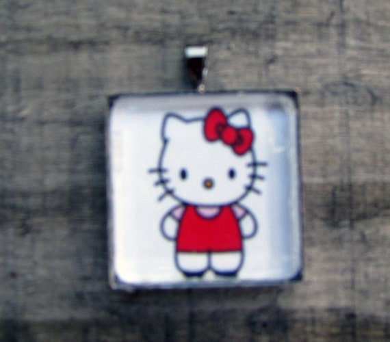 MY LITTLE KITTY Necklace White Jewelry Gift for Kitty Lovers Printed on Recycled Paper Under Glass Shield