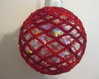 Red All Over Beaded Glass Ball Ornament