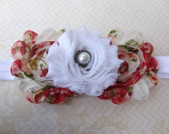 Vintage Rose and White Shabby Chic Headband.Small (Newborn -6 Months)