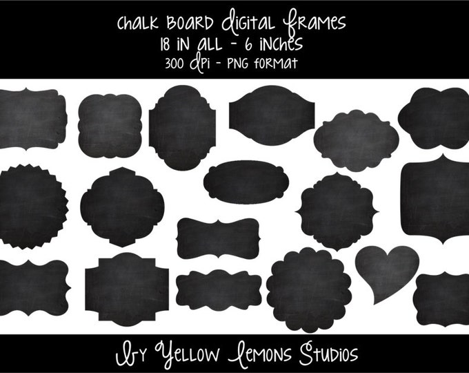 "Digital chalkboard style frames ""CHALKBOARD FRAMES"" chalk, circle, heart, scalloped, square, rectangle, fancy frames, oval frame, you print"