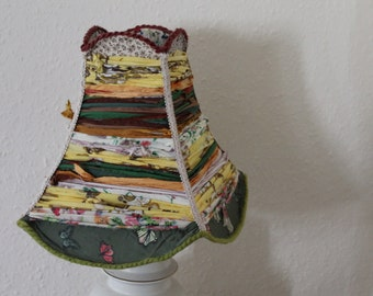 Handmade upcycled vintage lampshade. Shabby chic, granny chic, recycled fabric