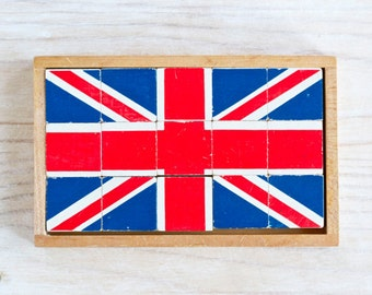Union Jack - Vintage Wooden Blocks Puzzle - United Kingdom Flag