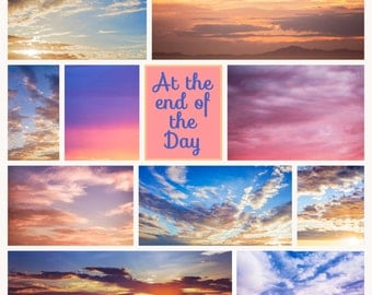 At the End of The Day Cloud Overlays Collection of 20 Digital Photoshop Instant Download Scrapbook Photography